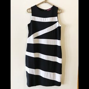 Jessica London black and white color block dress